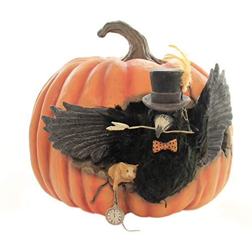 Halloween CAWING Pumpkin Polyresin Bird Mouse Clock Td8521