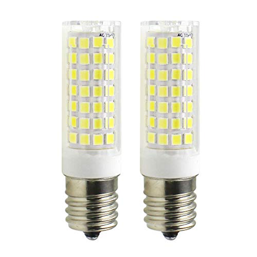 jus E17 Microwave Oven Appliance Light Bulbs, 7W (60W Halogen Bulb Equivalent), 580LM Daylight White 6000K, Dimmable Corn Bulbs for Over The Counter Range Hood, Pack of 2 ()