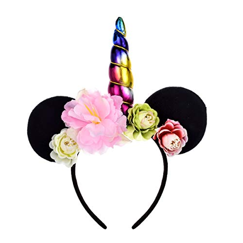 A Miaow Flower Headband Unicorn Headpiece Mickey Mouse Ears Costume Minnie Hair Hoop Halloween Part (Rainbow) -
