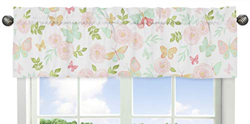 (Sweet Jojo Designs Blush Pink, Mint and White Watercolor Rose Window Treatment Valance for Butterfly Floral Collection)
