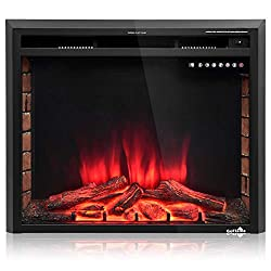 TANGKULA Electric Fireplace Insert Smokeless Modern Electric Fireplace Heater Insert Remote Control Adjustable Time Setting Home Use Electric Stove Heater, Black by TANGKULA