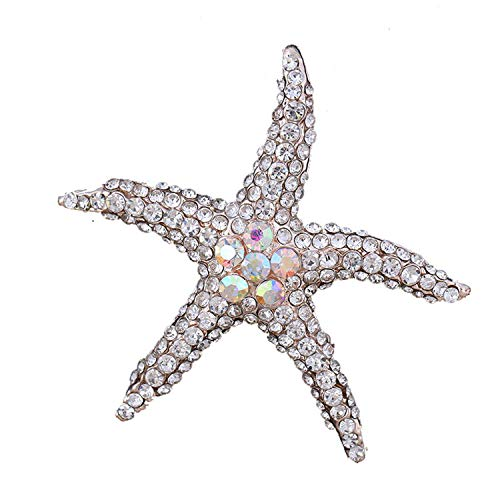 Blue Red AB Crystal Rhinestones Pave Setting Starfish Brooch Pins for Women Clear
