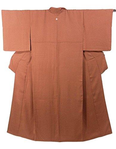 超えて修正する技術リサイクル 着物 色無地 一つ紋 らくだ色 正絹 袷 裄64cm 身丈160cm