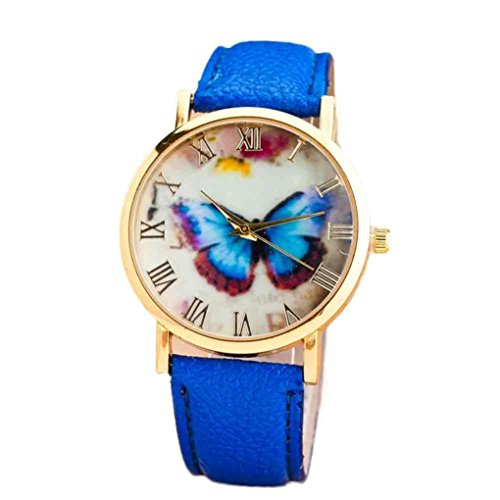 Tenworld Women Girl's Gift Butterfly Faux Leather Analog Quartz Wrist Watch - Kids Style Celebrity