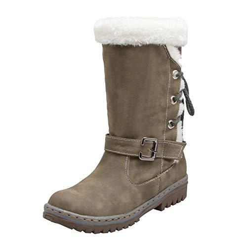 - Boomboom Classic Women Flat Heels Warm Snow Boots Winter Shoes Khaki US 8
