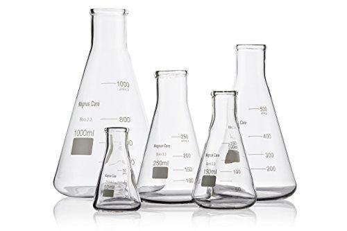 Magnus Care Glass Erlenmeyer Flask 5 Piece Set 50, 150, 250, 500, & 1000ml
