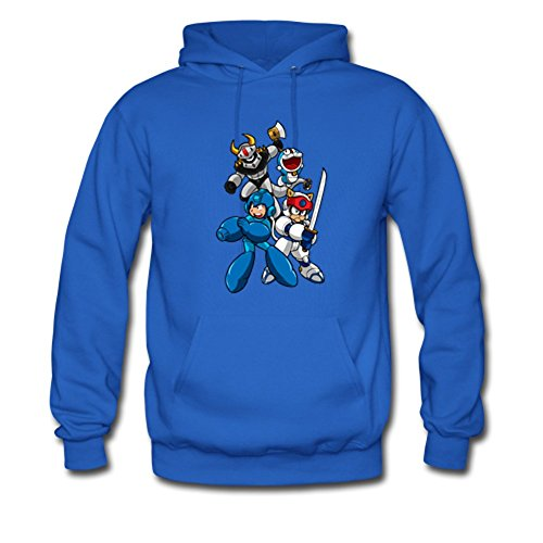 - Megaman and Doraemon Custom Men's Hoody Hoodie Sweatshirt Sweater Royal Blue Medium