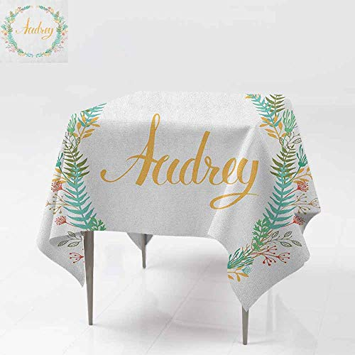 (Washable Square Tablecloth,Audrey,Retro Style Arrangement with Flourishing Nature Flowers and Leaves Signature Pattern,Table Cover for Kitchen Dinning Tabletop Decoratio,60x60 Inch Multicolor)