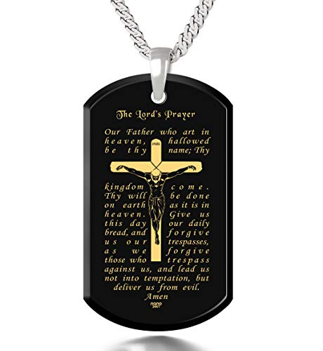 - Lord's Prayer Crucifix Cross Necklace Onyx Dog Tag Pendant 24k Gold Inscribed, 20