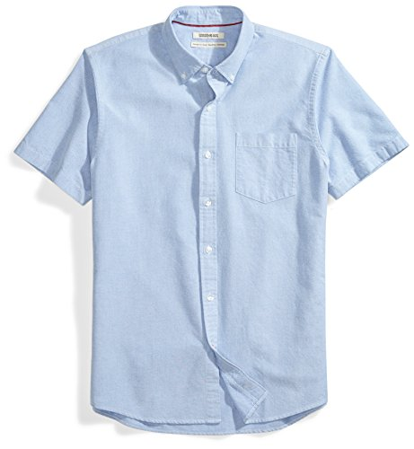 - Goodthreads Men's Standard-Fit Short-Sleeve Solid Oxford Shirt w/Pocket, Blue, Small