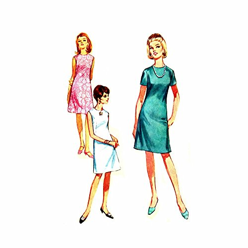 (1960s Misses Sleeveless A-line Dress Jiffy Simplicity 7072 Vintage Sewing Pattern Check Offers for Size)