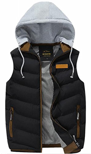 Down Outdoor Hooded Mens Fashion Jackets Zipper Pocket Vest Black TTYLLMAO xaqY6w1O