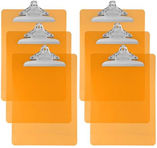 Trade Quest Plastic Clipboard Transparent Color Letter Size Standard Clip (Pack of 6) (Orange)