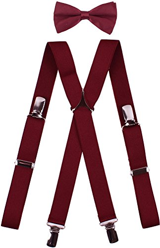 BODY STRENTH Baby Boys' Suspender with Bow Tie 4 Strong Hold Clips Lightweight X Back 22 Inches, -