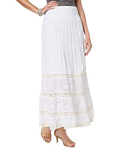 Style & Co. Crochet Eyelet Maxi Skirt (Bright White, XL)