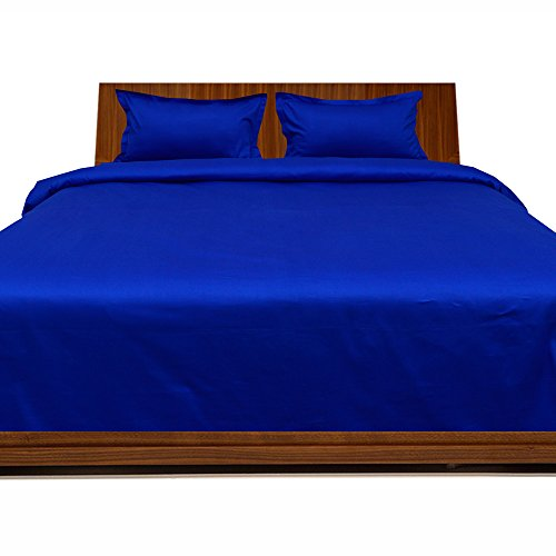 New Laxlinen 450 Thread Count 100% Egyptian Cotton Super Quality 1PC Flat Sheet(Top Sheet) Queen Bed Size, Egyptian Blue/Royal Blue Solid free shipping
