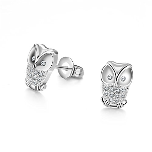 Acxico Women Sterling Silver Plated Cute Owl Screwback Girls Earrings for gift