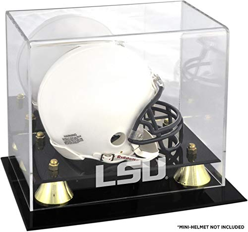- Sports Memorabilia LSU Tigers Golden Classic Logo Mini Helmet Display Case with Mirror Back - College Mini Helmet Free Standing Display Cases