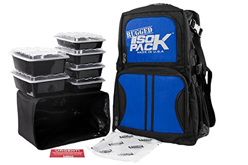 Isolator Fitness 4 Meal RUGGED ISOPACK Meal Prep Management Backpack Insulated Lunch Pack Cooler with 6 Stackable Meal Prep Containers, ISOBRICK – MADE IN USA