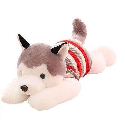 P.A.N. 1pcs Size 40 cm Cartoon Gray Sweater Husky Dog Plush Toy Child Cloth Doll Large Pillow Cushion Child Christmas Birthday Gift: Home & Kitchen