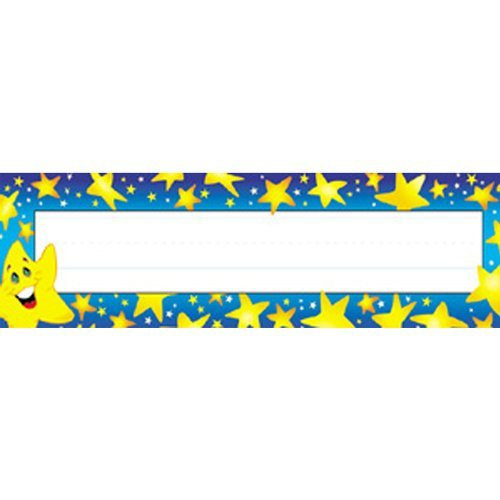 Trend Enterprises Super Stars Desk Toppers Name Plates, 36 per Package (T-69003) by Trend Enterprises ()