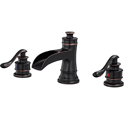 Aquafaucet Waterfall 8 - 16 Inch 3 Holes Two Handle Widespread Bathroom Sink Faucet Oil Rubbed Bronze