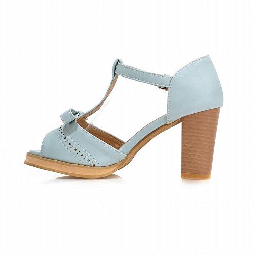 Carolbar Elegans Kvinna T-spänne Peep Toe Mode Bows Söta Chunky Hög Klack Sandaler Blå
