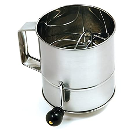 Norpro 3-Cup Polished Stainless Steel Hand Crank Sifter 145