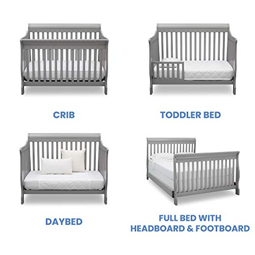 41VnlKHAp8L - Delta Children Canton 4-in-1 Convertible Crib - Easy To Assemble, Grey
