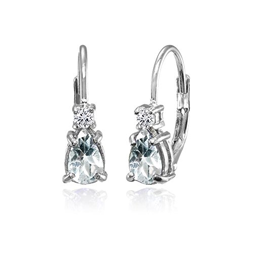 - Sterling Silver Aquamarine and White Topaz Dainty Teardrop Huggie Leverback Earrings