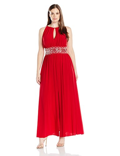 R&M Richards Women\'s Plus Size Beaded Waist Halter Evening Gown, Red, 16W