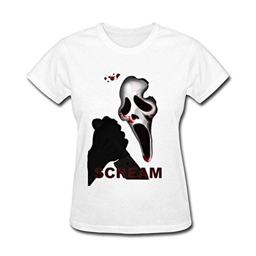 Selton Key Women's Scream Terror Mask Scary Scream White L T-shirt -