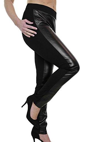 ICE (1482) Plus Size Faux Leather Look & Spandex Pants Black (12)