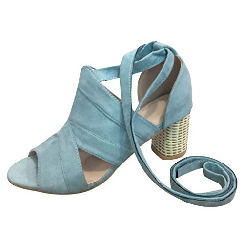 (Londony ✡ Women's Block Open Toe Ankle Strap Heeled Sandals Cutout Gladiator Ankle Strap Platform Block Heel Sandals Blue)