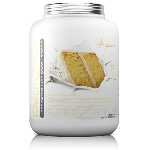 Metabolic Nutrition, Protizyme, 100% Whey Protein Powder, High Protein, Low Carb, Low Fat Whey Protein, Digestive Enzymes, 24 Essential Vitamins and Minerals, Vanilla Cake, 5 pound (ser)