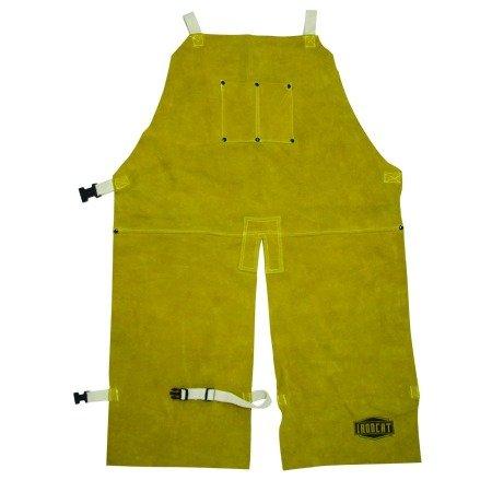 West Chester IRONCAT 7011 Heat Resistant Split Cowhide Leather Welding Split Leg Bib Apron, 24'' W x 36'' L