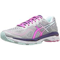ASICS Women's Gel-Kayano 23 Running Shoe, Silver/Pink Glow/Parachute Purple, 7 M US