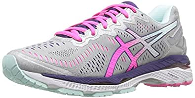 ASICS Women's Gel-Kayano 23 Running Shoe, Silver/Pink Glow/Parachute Purple, 5 2A US