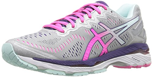 ASICS Women's Gel-Kayano 23 Running Shoe, Silver/Pink Glow/Parachute Purple, 7.5 M US