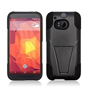 Bloutina AIMO HypeKick Hybrid Gummy Case with Kickstand for HTC One 2 M8 - (Black / Black)