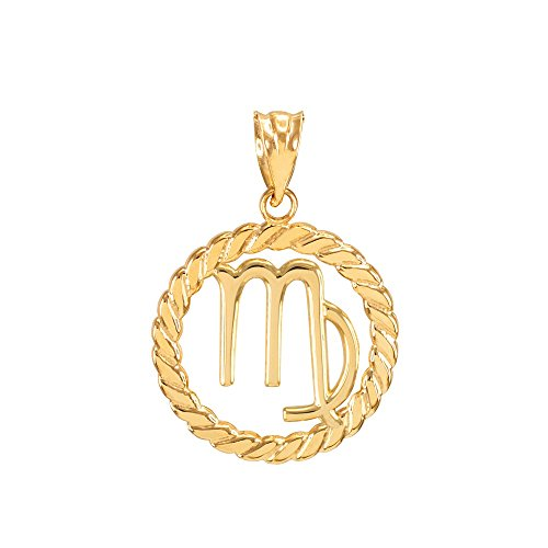 High Polish 14k Yellow Gold Roped Circle Zodiac Sign Personalized Virgo Charm ()