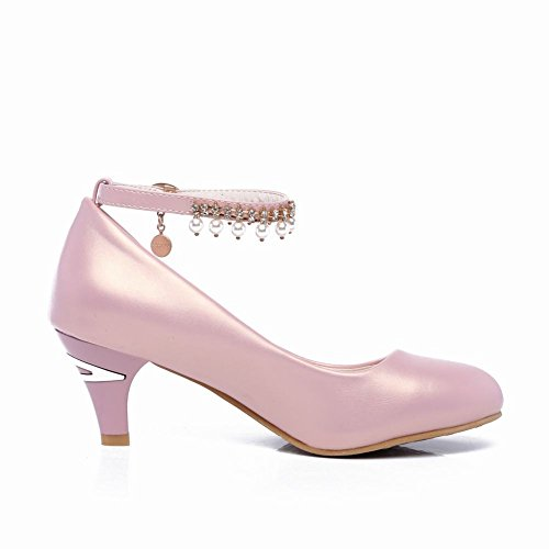 Carolbar Women's Fashion Sweet Beaded Mid Heel Ankle Strap Court Shoes Pink pw5FoimNGv