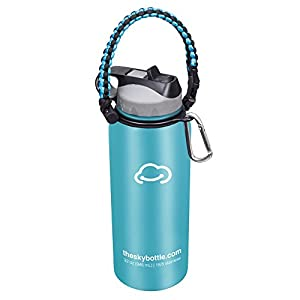 Stainless Steel Vacuum Insulated Water Bottle with Straw Lid and FREE paracord handle with metal carabiner - Keeps Hot & Cold Beverages for Hours - Thermos Double Walled - 32 oz.(1 Liter) - Sky Blue