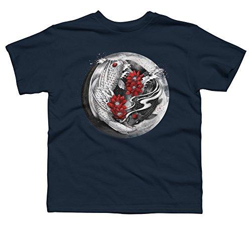 Design By Humans Balance [Yin-yang koi] Boy's Small Navy Youth Graphic T Shirt ()