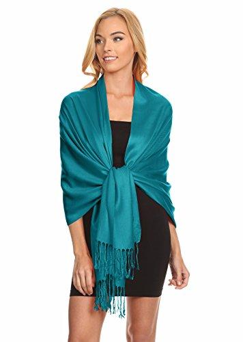 Simlu Womens Scarfs Silky Pashmina Shawl Wrap Scarves for Women Stole Shawls (Size one size, Teal)