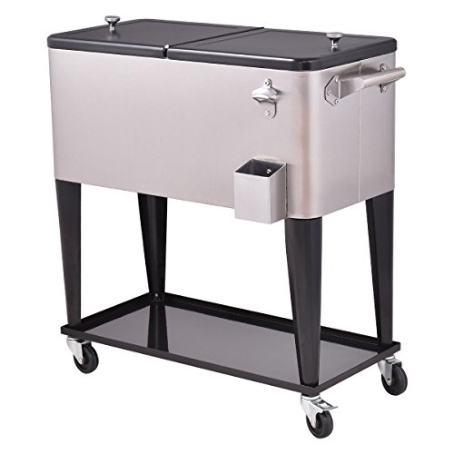 Giantex Patio Cooler Rolling Cart Outdoor Portable Stainless Steel Ice Beverage Chest Pool with Bottle Opener, 80 (Stainless Steel Rolling Cooler)