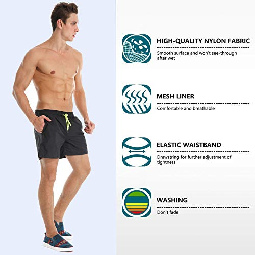 9384c5ae86b8 ... YnimioAOX Men's Trunks Quick Dry Shorts Gym Athletic Bodybuilding with Pockets  Swimming Briefs (Black, ...