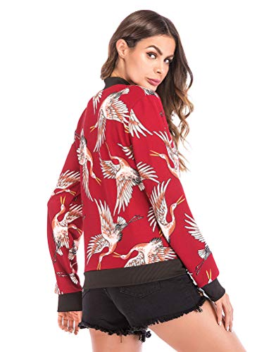 Bird Long Bomber Jacket Jacket Sport Coat Cardigan Autumn Fashion Red Print Outwear Print Coat Jacket Blouse ShallGood Zipper Sleeve Floral Baseball Crane Womens Winter A EBq0nUxwIH