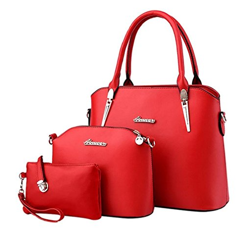 ADOO Bags Elegant Shoulder Women's Handbags Red Leather Tote Hobo Bags Set rTXrwaq