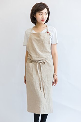 Mo-baby women Kitchen fashion Aprons with 39x39 inches and 100% cotton linen (Wrap Around Apron)